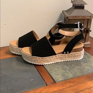Soda black and woven sandals. Size 8.5